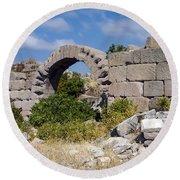 Ancient Bergama Acropolis Ruins Round Beach Towel