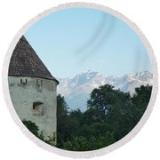 Ancient Building And Mountains Round Beach Towel