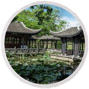 Ancient Chinese Architecture Round Beach Towel