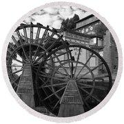 Ancient Chinese Waterwheels Round Beach Towel