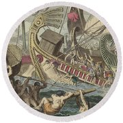 Ancient Greek Sea Battle Round Beach Towel