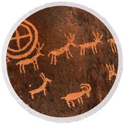 Ancient Indian Petroglyphs Round Beach Towel