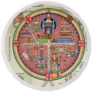 Ancient Map Of Jerusalem And Palestine Round Beach Towel