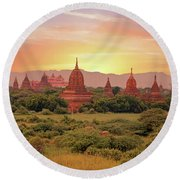 Ancient Pagodas In The Countryside From Bagan In Myanmar At Suns Round Beach Towel