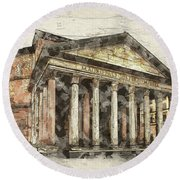 Ancient Pantheon Round Beach Towel