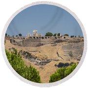 Ancient Pergamon Acropolis Round Beach Towel