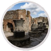Ancient Pompeii - Bakery Of Modestus Millstones And Bread Oven Round Beach Towel
