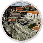 Ancient Portuguese Cities Round Beach Towel