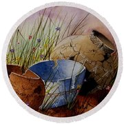 Ancient Relics A Paint Along With Jerry Yarnell' Study. Round Beach Towel