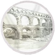 Ancient Roman Aqueducts Round Beach Towel