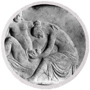 Ancient Roman Relief Carving Of Midwife Round Beach Towel