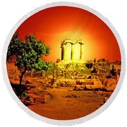 Ancient Ruins Round Beach Towel
