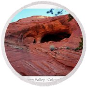Ancient Ruins Mystery Valley Colorado Plateau Arizona 01 Text Round Beach Towel