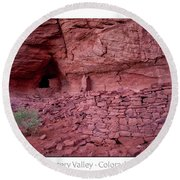 Ancient Ruins Mystery Valley Colorado Plateau Arizona 02 Text Round Beach Towel