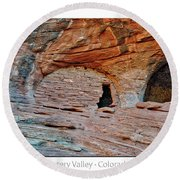 Ancient Ruins Mystery Valley Colorado Plateau Arizona 05 Text Round Beach Towel