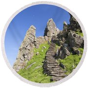 Ancient Steps Leading To Celtic Monastery, Skellig Michael, County Kerry, Ireland Round Beach Towel