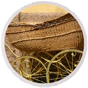 Ancient Swedish Baby Carriage Round Beach Towel