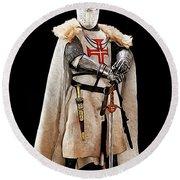 Ancient Templar Knight - 02 Round Beach Towel