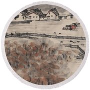 Ancient Town River Paintingancient Town River Painting Round Beach Towel