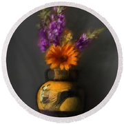 Ancient Vase And Flowers Round Beach Towel