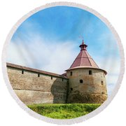 Ancient Wall And Tower Of The Fortress Oreshek Round Beach Towel