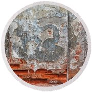Ancient Wall. Round Beach Towel