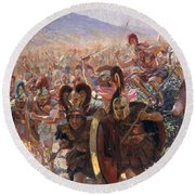 Ancient Warriors Round Beach Towel