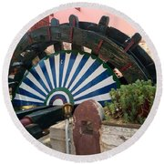 Ancient Water Mill Greece  Round Beach Towel