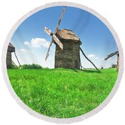 Ancient Windmills In Field Round Beach Towel