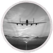 And In The Morning Black And White Version Round Beach Towel