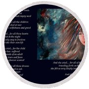 And She Cried - Poetry In Art Round Beach Towel