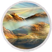 And The Light Shines On And On And On... Round Beach Towel