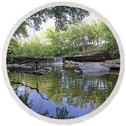 Anderson Falls, Indiana Round Beach Towel