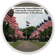 Andersonville National Park Round Beach Towel