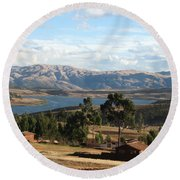 Andes Lake Round Beach Towel