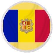 Andorra Flag Round Beach Towel