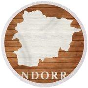Andorra Rustic Map On Wood Round Beach Towel