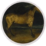 Andre Theodore Gericault   A Horse Frightened By Lightning Round Beach Towel