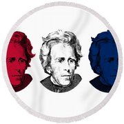 Andrew Jackson Red White And Blue Round Beach Towel
