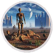 Android Fossils Preserved Round Beach Towel