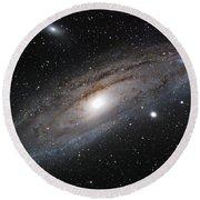 Andromeda Galaxy Lightened Round Beach Towel