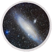Andromeda Galaxy With Companions Round Beach Towel