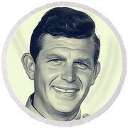 Andy Griffith, Vintage Actor Round Beach Towel