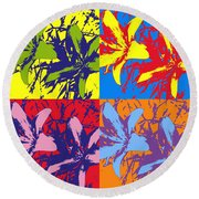 Andy's Lillies Round Beach Towel