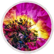 Anemone Abstracted In Fuchsia Round Beach Towel