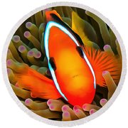 Anemone Fish Round Beach Towel