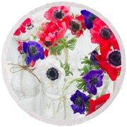 Anemone Flowers  Round Beach Towel