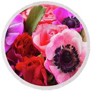 Anemones And Roses Round Beach Towel