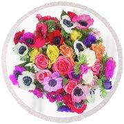 Bouquet Of Anemones Round Beach Towel