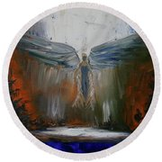 Angel Abstract  Round Beach Towel